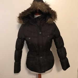 Hooded Puffer Coat with Faux Fur Trimmed Hood